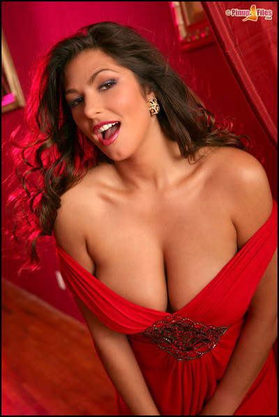 Amber Campisi Busty Nude Centerfold Pinup in Red Dress