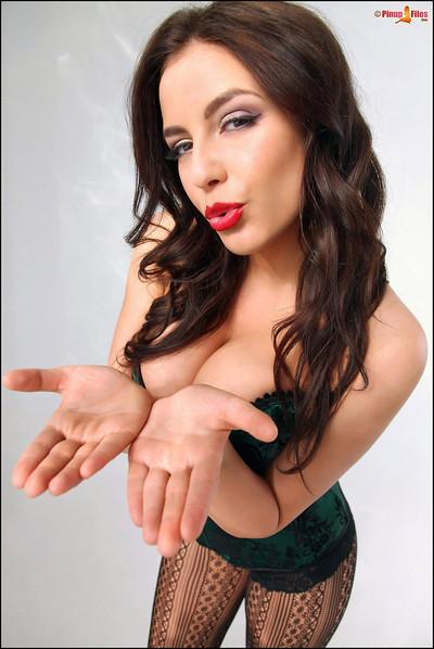 Desiree-Elyda Villalobos Green Corset Black Stockings