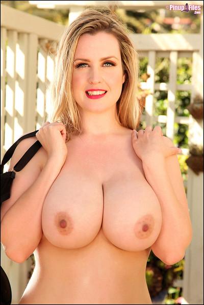 Brooke Britt 34HH Blonde Bombshell Undoes Blue Sweater