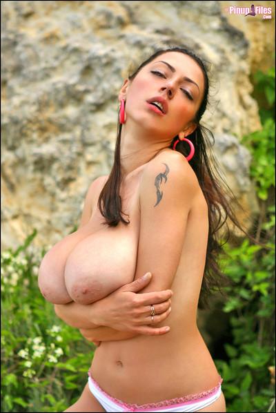 Anya Zenkova Exposes Huge Natural Breasts Outdoors